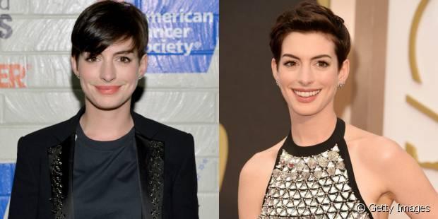 Quando ficava enjoada da franjinha curta, Anne Hathaway texturizava os cabelos com pomada e escovava para trás