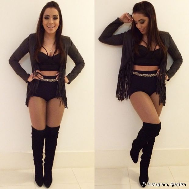Anitta investe em roupas pretas
