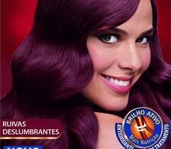 A tonalidade 5.546 (Vermelho Amora) é uma cor mais fechada, para as mulheres mais discretas que querem ficar ruiva