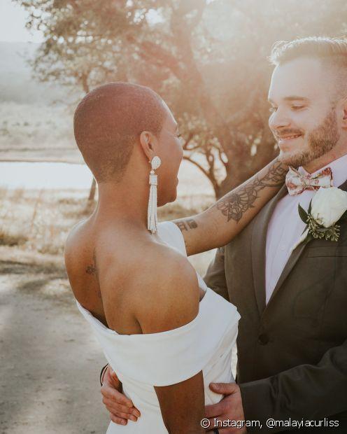 As noivas de cabelo raspado também ficam lindas e imprimem muita personalidade para a cerimônia