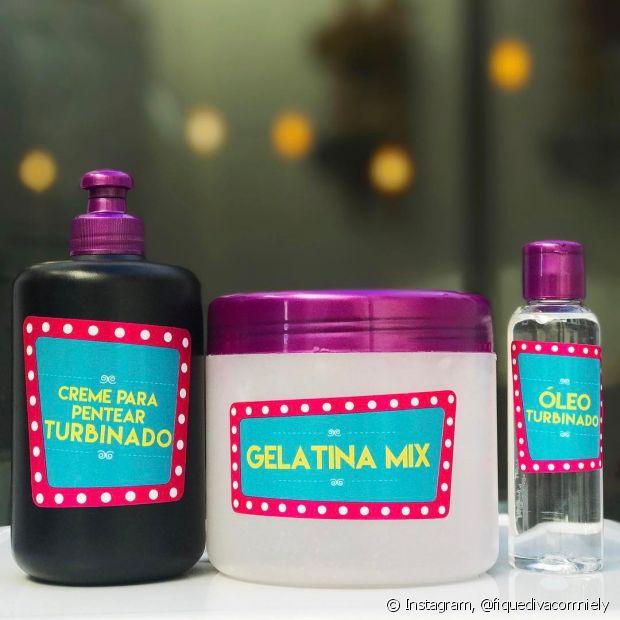 Para fazer o ritual do COG ou método do COG, você vai precisar do Creme Para Pentear Turbinado, do Óleo Turbinado e da Gelatina Mix