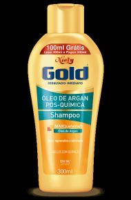 Shampoo Sem Sal Niely Gold Óleo de Argan Pós Química 300ml + 100ml Grátis