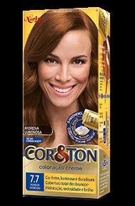 Marrom Dourado 7.7 Cor&Ton Coloração Creme