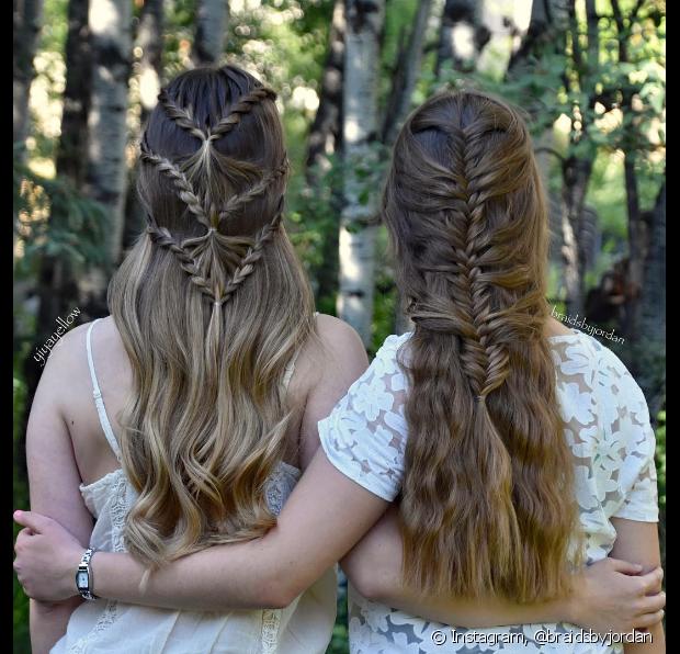 Incorporar diferentes mechas do cabelo nos trançados deixa o visu bem charmoso - @braidsbyjordan