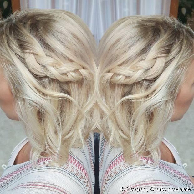 A trança lateral deixa os cabelos curtinhos bem charmosos - @hairbymicaelajade