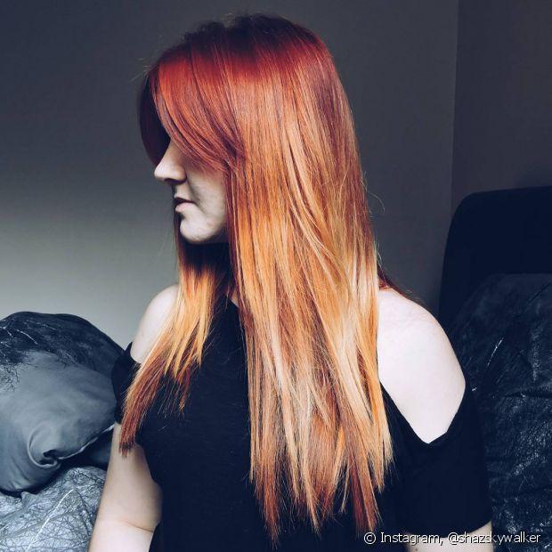 O ombré hair combina com os diversos tipos e tonalidades de cabelos, incluindo os ruivos!