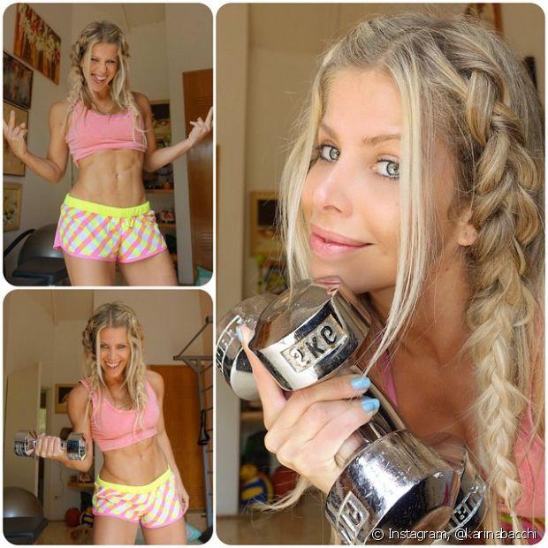 Karina Bacchi adora improvar penteados com tranças e fica super estilosa!