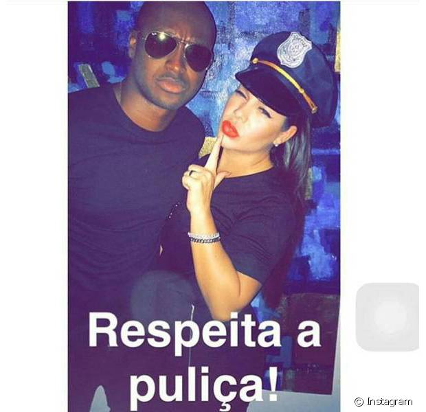 Thiaguinho e Fernanda Souza foram de policiais a uma festa à fantasia