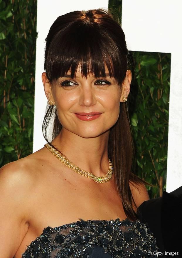 Katie Holmes apostou no truque para a festa da revista 'Vanity Fair' depois da cerimônia do Oscar, em 2012