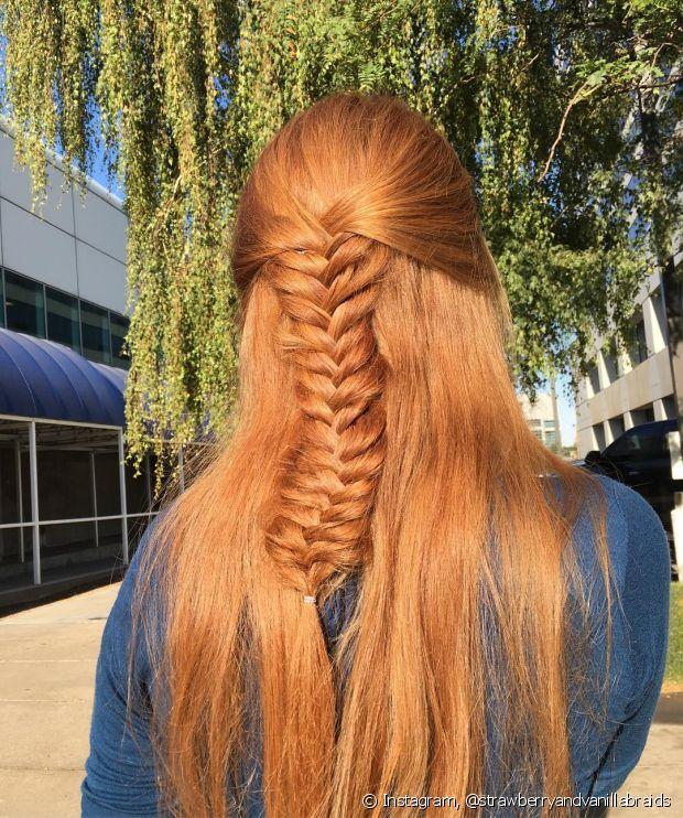 Tranças valorizam os cabelos ruivos!