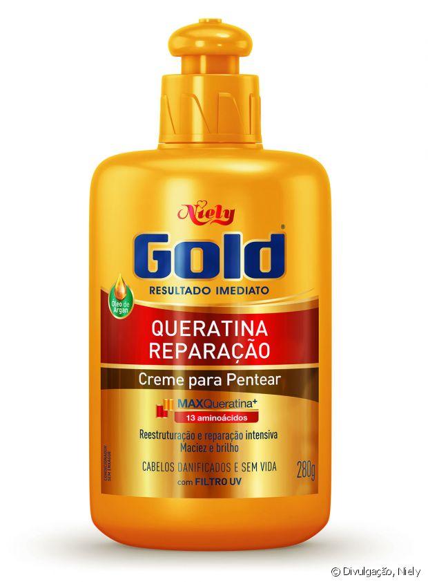 O Creme Para Pentear Niely Gold Queratina Reparação pode ser usada na fitagem em todas as cacheadas