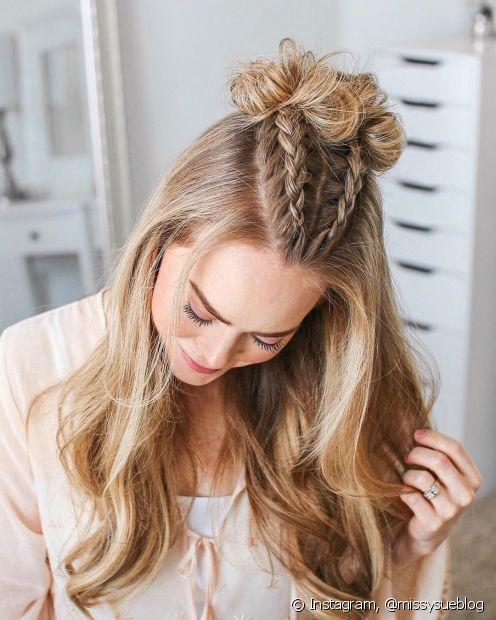 Para quem quer disfarçar a testa grande com penteados a dica é sempre deixar alguns fios soltos na parte da frente (Foto: Instagram, @missysueblog)