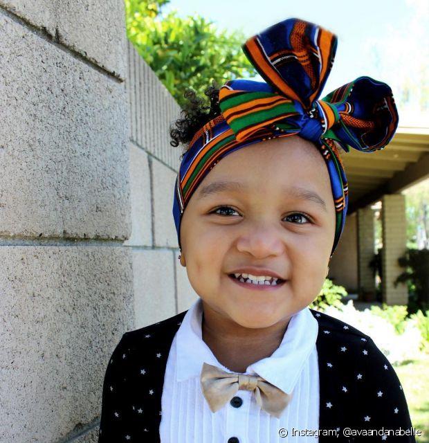 Faça um mix de estampas com o turbante para deixar sua filha ainda mais fashion