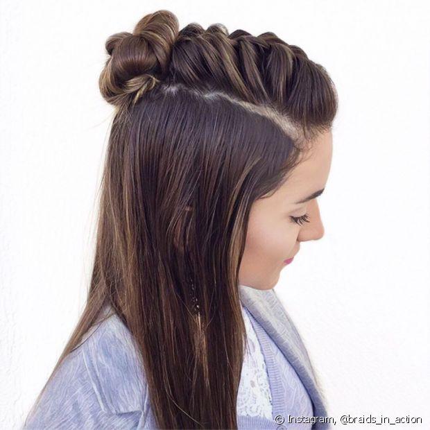 A trança unicórnio é um penteado semipreso bem simples de fazer