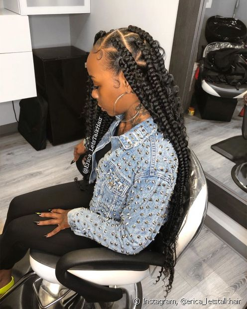 As tranças afros também podemser personalizadas com diferentes formatos na raiz do cabelo (Foto: Instagram, @erica_letstalkhair)