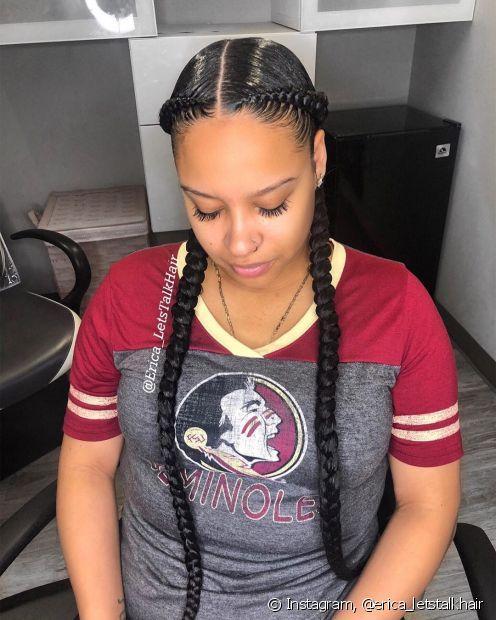 A trança boxeadora é um dos penteados mais populares entre as tranças afros e combina com todos os looks (Foto:Instagram, @erica_letstalkhair)