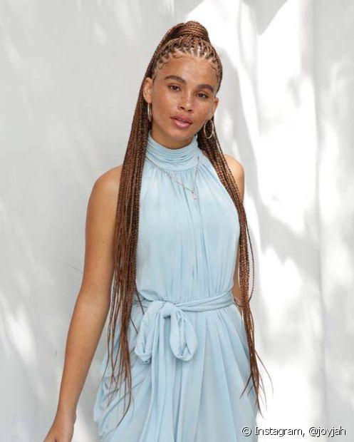 O rabo de cavalo com box braids é o clássico que nunca sai de moda nos penteados para casamento em cabelo afro (Foto: Instagram, @joyjah)