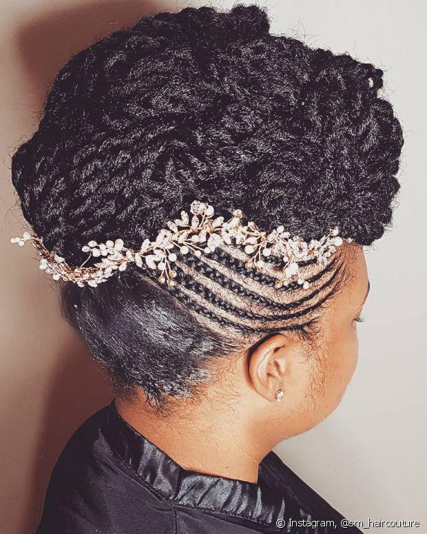 As noivas com box braids podem aproveitar as trancinhas para inovar no visual