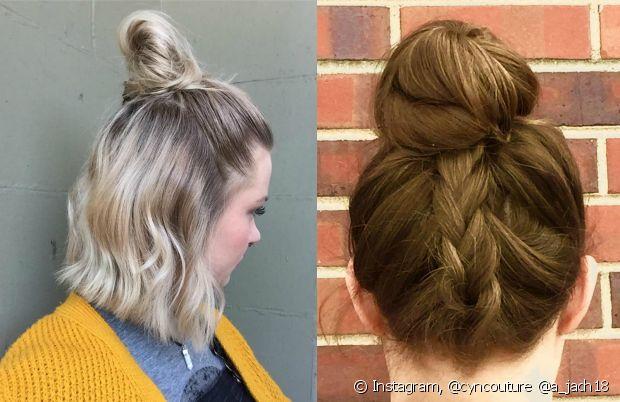 O half bun e a trança na nuca com coque são lindos e estilosos. Qual desses penteados você prefere?