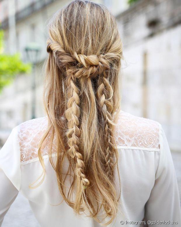 Penteado semipreso é a solução para meninas que não gostam dos cabelos totalmente presos. Tranças com fios soltos fica um charme!