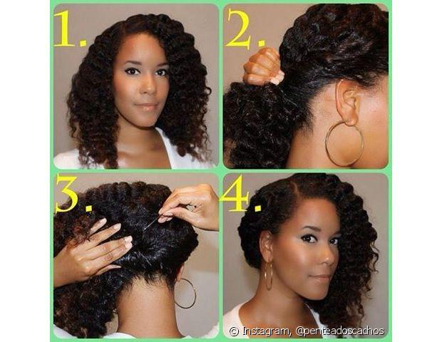 O penteado com mechas torcidas é muito simples e elegante