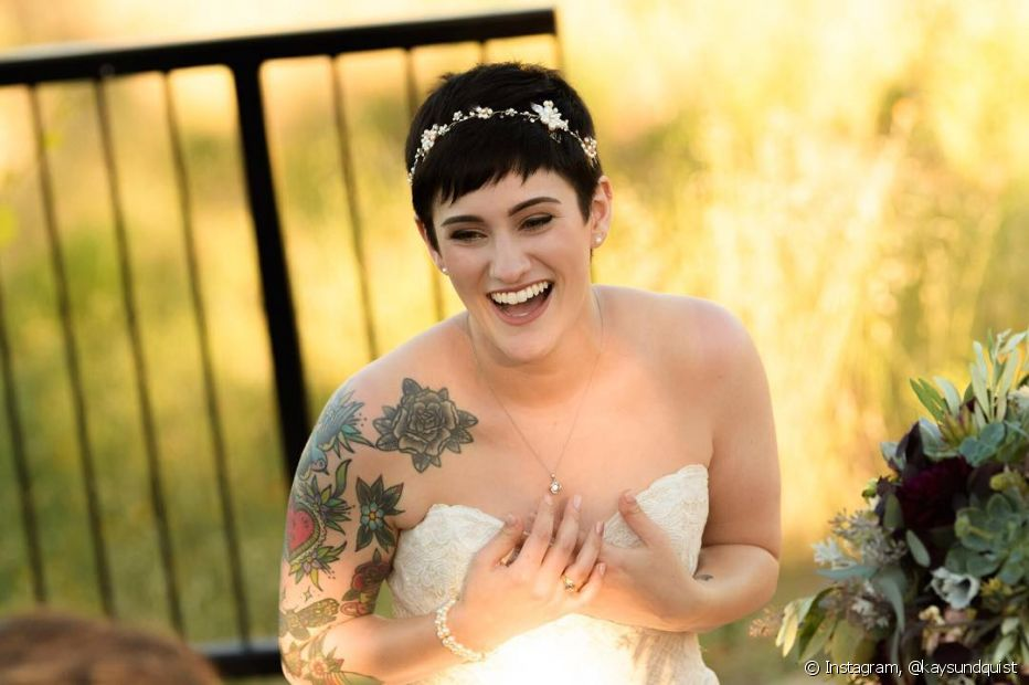 O cabelo pixie pode, sim, brilhar no grande dia do seu casamento