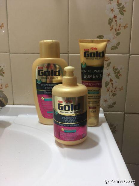 Os produtos foram usados na seguinte ordem: shampoo para limpar, condicionador bomba para dar emoliência e creme para pentear para finalizar