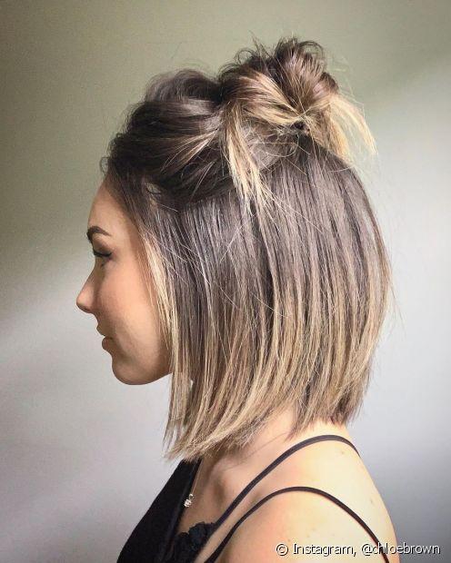 Os semi-presos ótimas opções penteados para cabelos curtos e uma boa saída para prender a franja que cai no rosto. (Foto: Instagram @chloebrown)