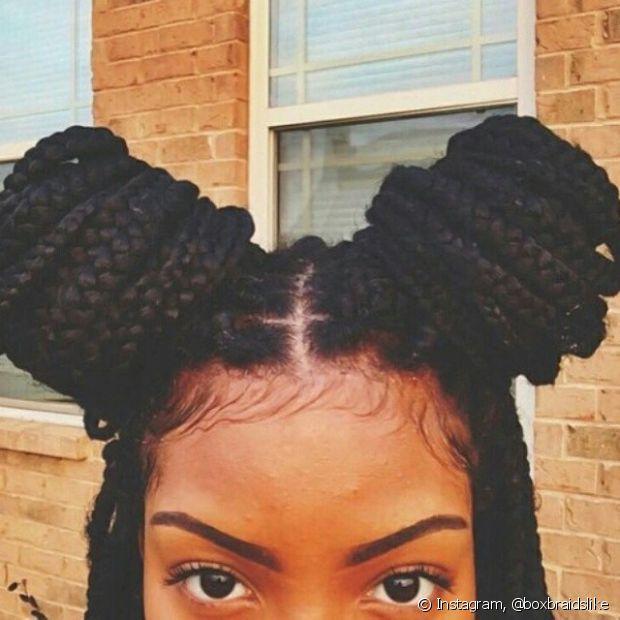 Os coquinhos laterais ficam com efeito mais bonito com as braids