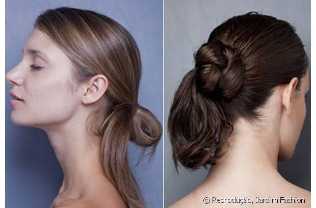 O jeito mais simples de fazer esse penteado é prender os fios em rabo, dar a primeira volta do elástico e, na segunda, puxar as mechas até metade do caminho