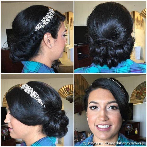 As noivas românticas costumam imprimir a personalidade na hora de escolher o penteado, muitas vezes optando pelo coque baixo e lateral