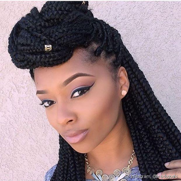 O topete com as box braids trazem mais sofisticação ao look (Foto: Instagram, @braidsgoals)