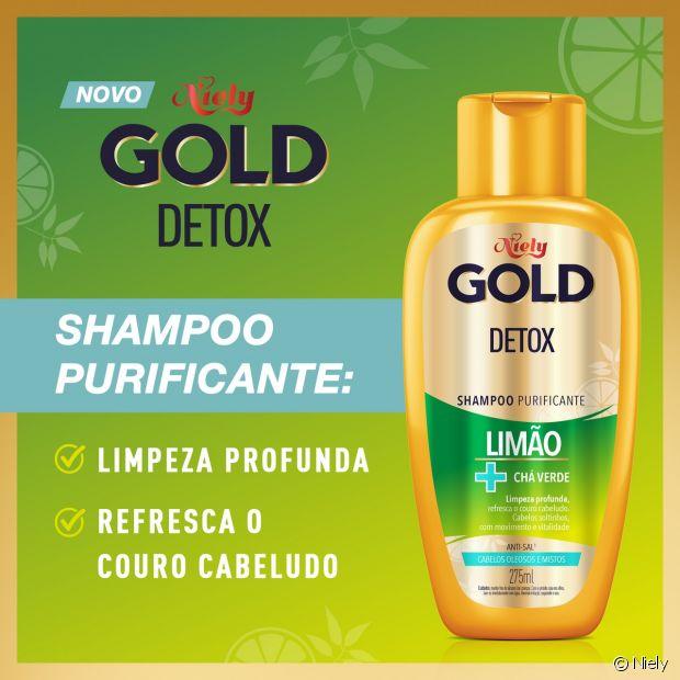 O shampoo Purificante Niely Gold Detox garante limpeza profunda para a raiz oleosa sem ressecar comprimentos e pontas do cabelo
