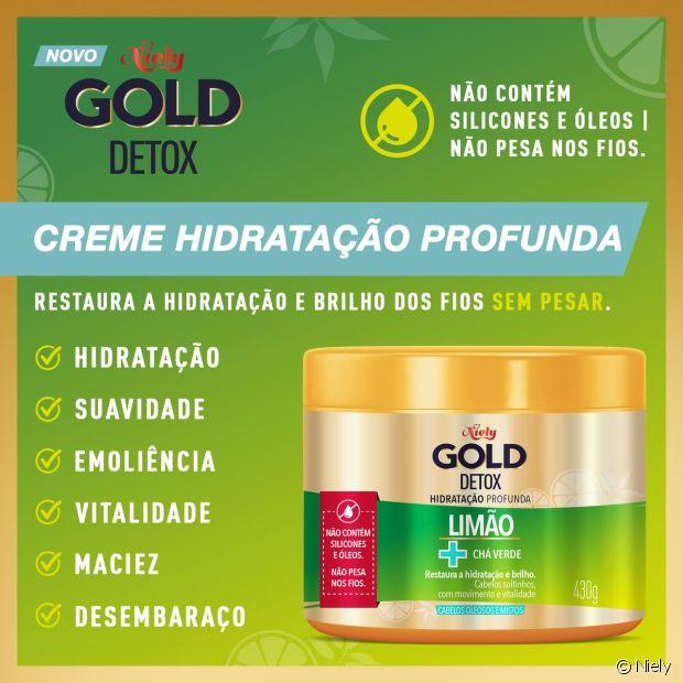 A máscara de hidratação Niely Gold Detox conta com a ação do limão no cabelo unida com o poder antioxidante do chá verde