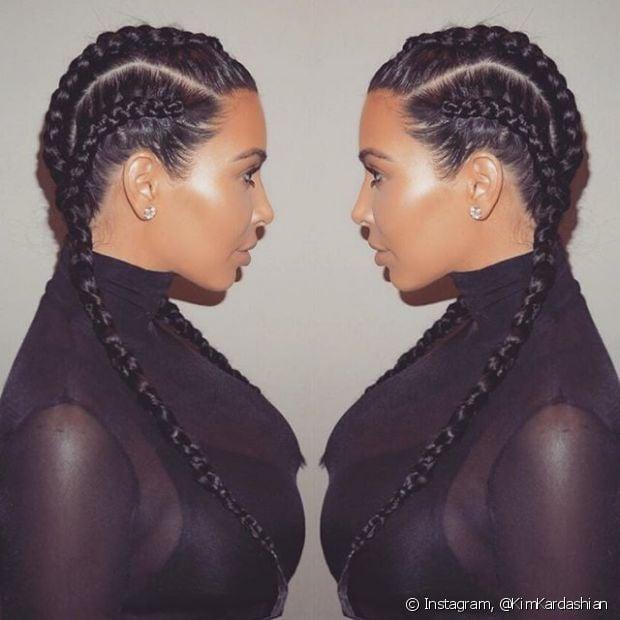 Kim Kardashian tem usado muito as boxer braids