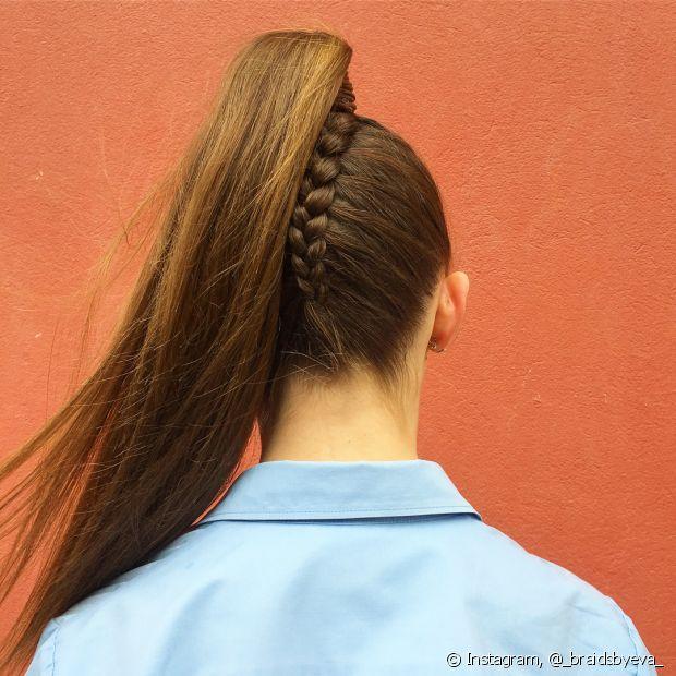 Os penteados com trança e rabo de cavalo são muito originais e deixam o visual mais descolado (Foto Instagram: @_braidsbyeva_)