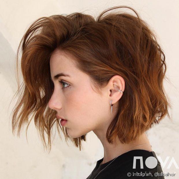 O ruivo canela é uma versão bem quente de cabelo ruivo curto (Foto: Instagram @salsalhair)