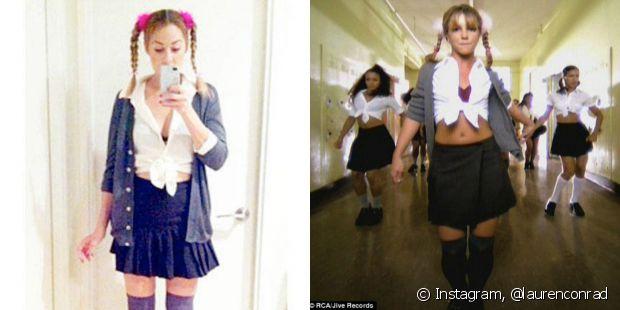 A atriz Lauren Conad fez duas tranças laterais com pompom cor de rosa para imitar o figurino de Britney Spears no clipe 'One More Time'