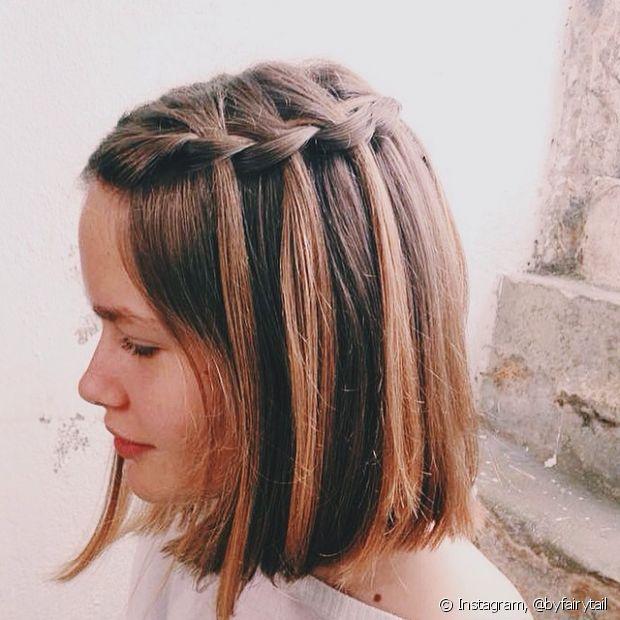 A trança cascata pode ser feito em cabelos de qualquer comprimento
