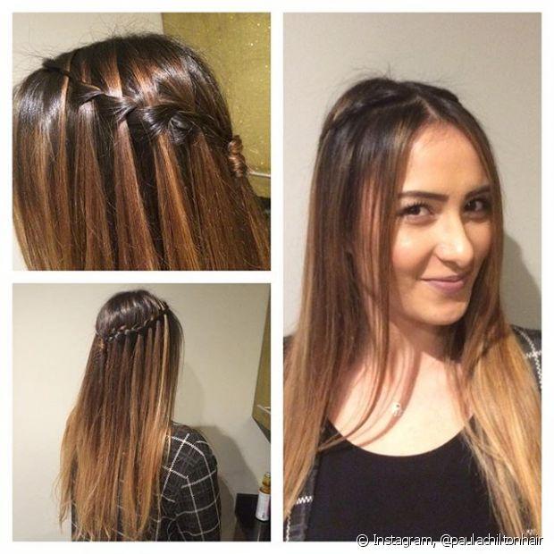 O visual fica incrível em cabelos com mechas, misturando todas as tonalidades no trançado