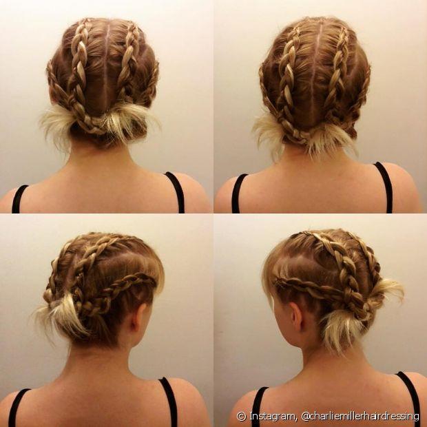 O penteado pode ter novas versões, como esse de quatro mechas, e ainda ser finalizado prendendo as pontinhas na cabeça