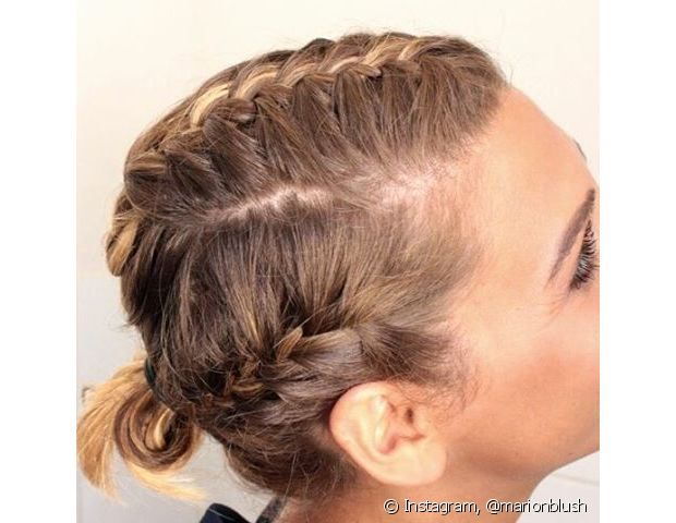 Os cabelos curtinhos são ótimos para finalizar a trança boxeadora prendendo as pontas