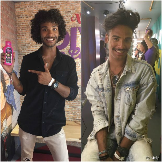 Os gêmeos Thiago e Matheus Alvarenga estiveram no stand da Niely, no Rock in Rio, para fazer penteados