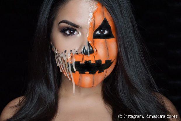Se você tiver habilidade, dá para fazer uma maquiagem mais elabora para o Halloween