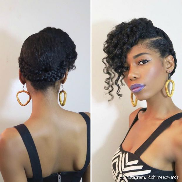 Traga elegância aos fios médios com o penteado preso com trança e franja