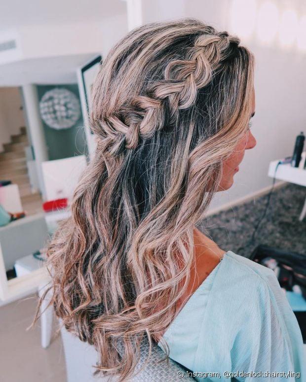 As tranças combinam muito com os penteados semipresos