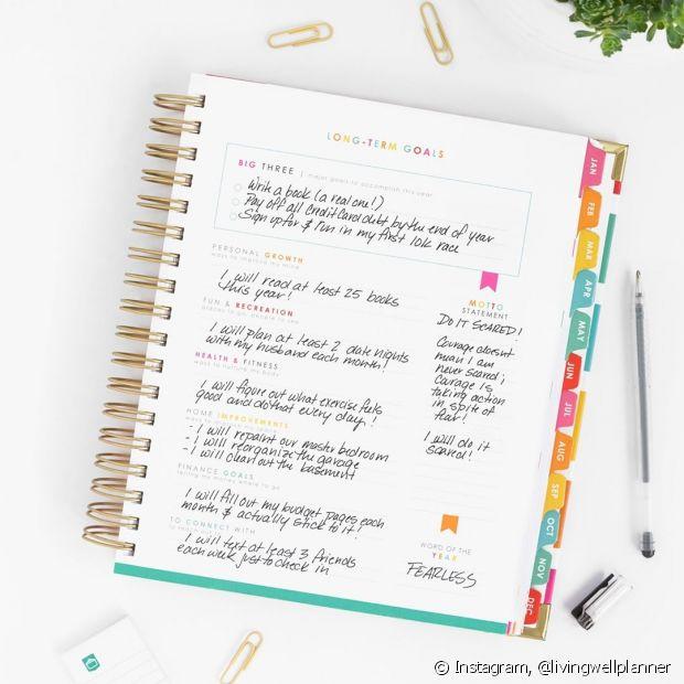 Fazer uma lista de metas é um clássico para começar o ano. Materializar seus desejos vai te ajudar a sempre lembrar do que você deseja alcançar durante os 12 meses