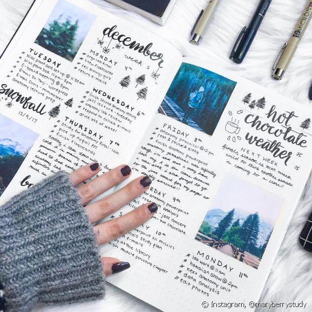 O bullet journal se popularizou em 2017 e é perfeito para pessoas criativas e que gostam de montar o próprio esquema de arrumação da semana