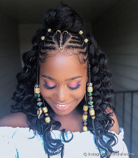 As tranças nagô no topo da cabeça trazem ancestralidade ao visual das divas negras (Foto: Instagram, @kendrakenshay)