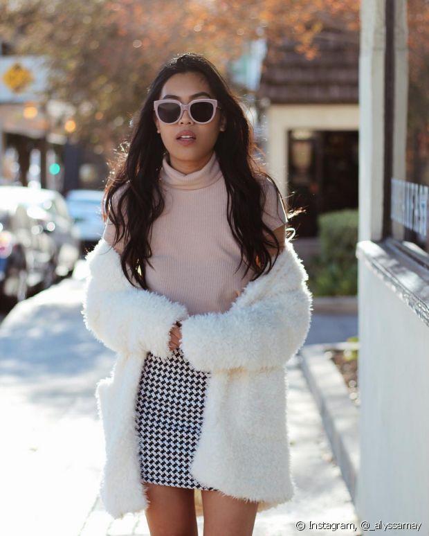 O casaco de pelo também pode ser usado com estampas